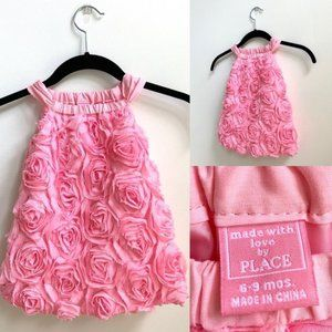CHILDREN'S PLACE Pink Roses Dress Sz 6-9 Months
